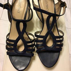 Navy wedge sandal